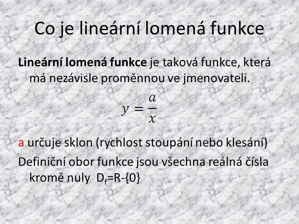 Co je lineární lomená funkce Lineární lomená funkce je taková funkce, která má nezávisle proměnnou ve jmenovateli.