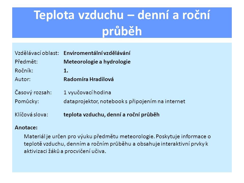 Teplota vzduchu – denní a roční průběh Vzdělávací oblast:Enviromentální vzdělávání Předmět:Meteorologie a hydrologie Ročník:1.