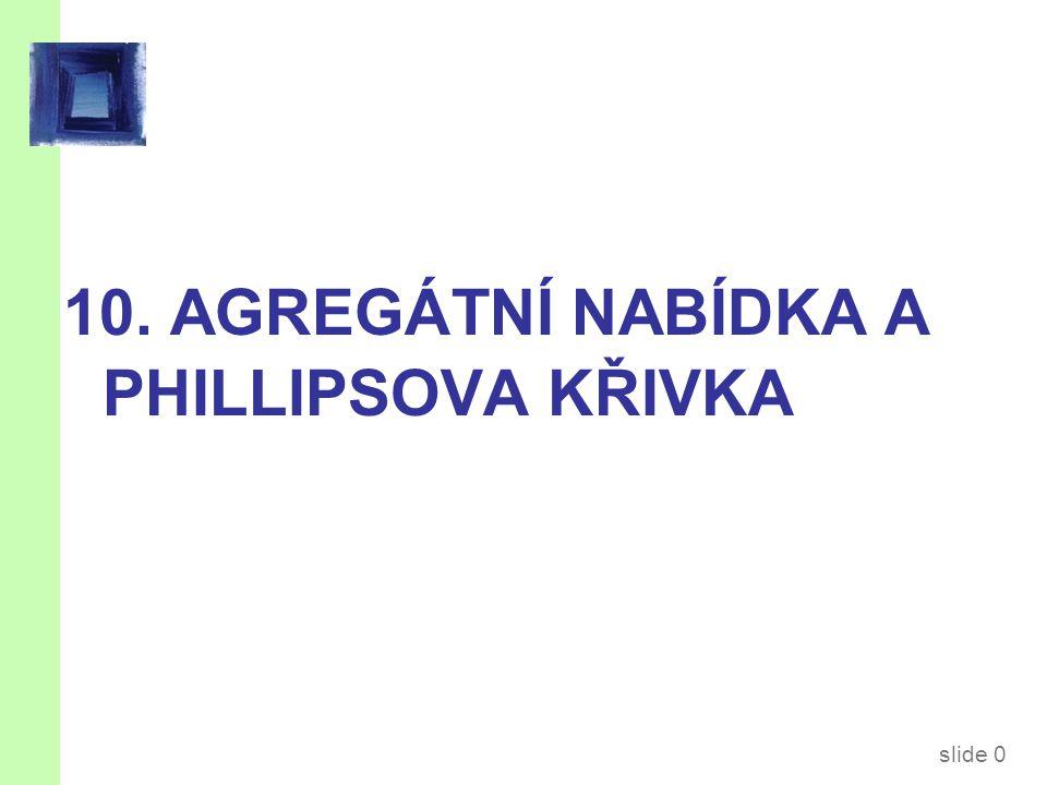 slide 0 10. AGREGÁTNÍ NABÍDKA A PHILLIPSOVA KŘIVKA