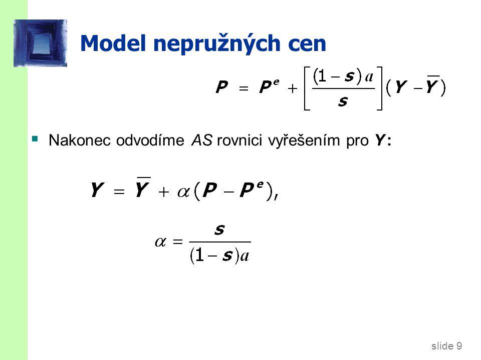 slide 9 Model nepružných cen  Nakonec odvodíme AS rovnici vyřešením pro Y :