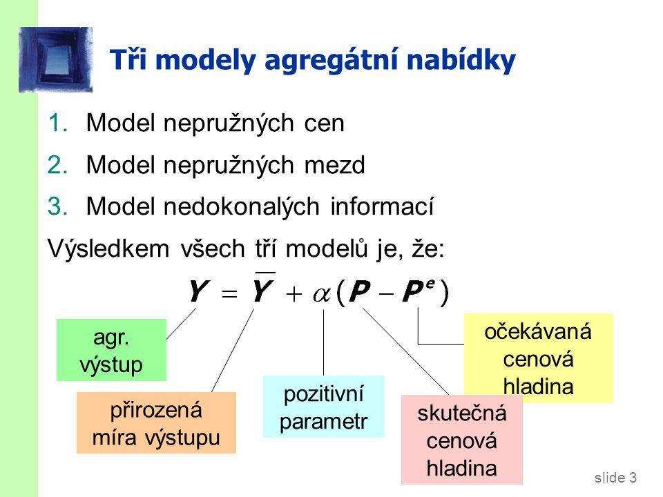 slide 3 Tři modely agregátní nabídky 1.Model nepružných cen 2.Model nepružných mezd 3.Model nedokonalých informací Výsledkem všech tří modelů je, že: