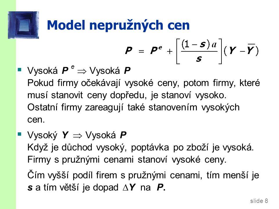 slide 19 Shrnutí a důsledky Každý z těchto tří modelů AS implikuje vztah vyjádřený křivkou SRAS a její rovnicí.