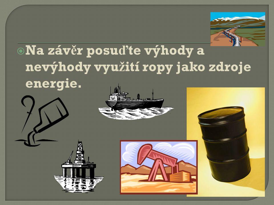  Na záv ě r posu ď te výhody a nevýhody vyu ž ití ropy jako zdroje energie.