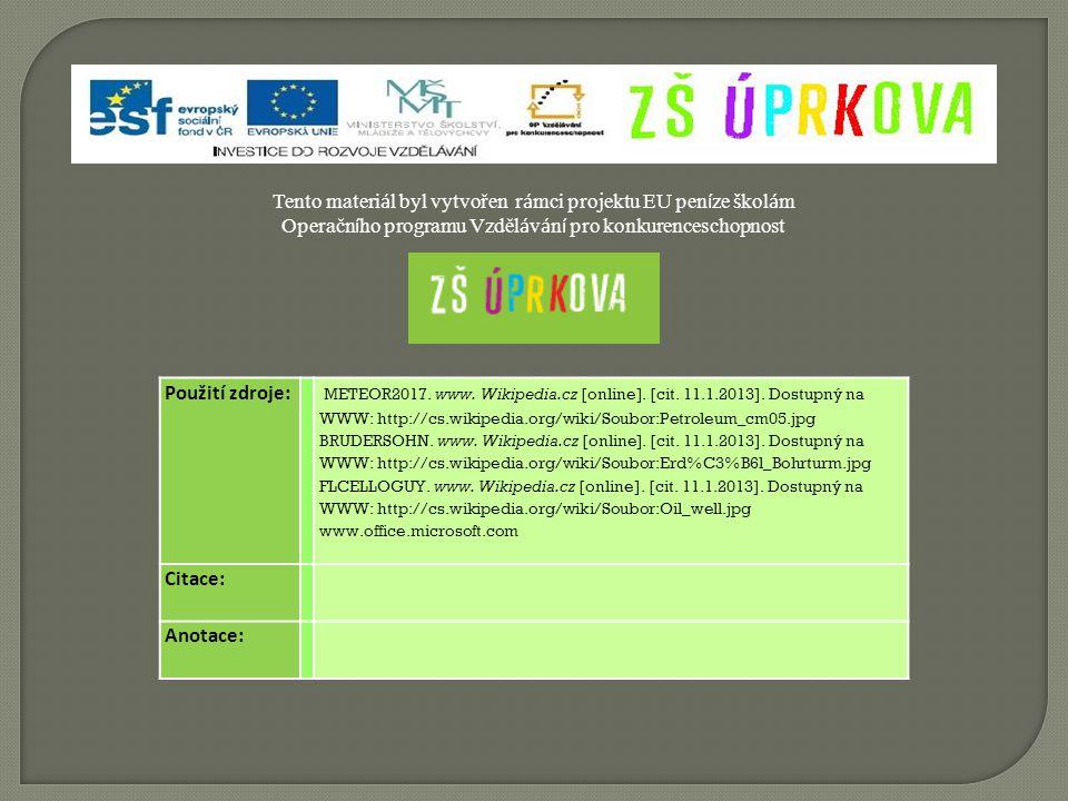 Použití zdroje: METEOR2017. www. Wikipedia.cz [online].