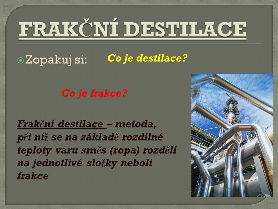  Zopakuj si: Co je destilace. Co je frakce.