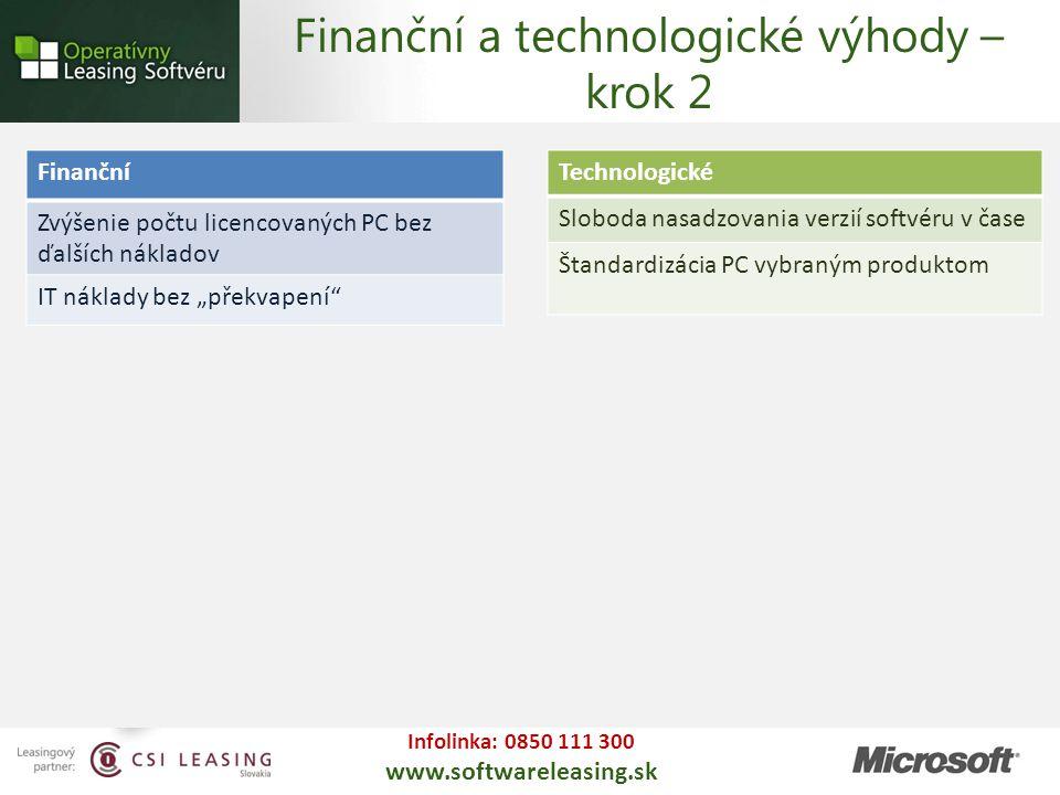 Infolinka: 0850 111 300 www.softwareleasing.sk Technologické Sloboda nasadzovania verzií softvéru v čase Štandardizácia PC vybraným produktom Finanční