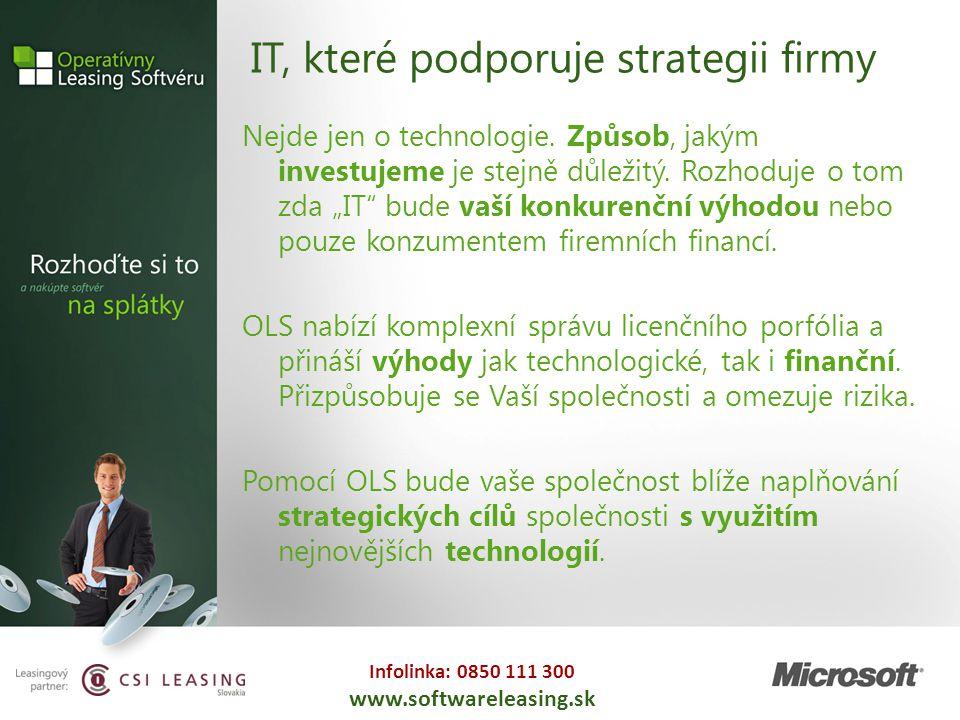Infolinka: 0850 111 300 www.softwareleasing.sk IT, které podporuje strategii firmy Nejde jen o technologie. Způsob, jakým investujeme je stejně důleži