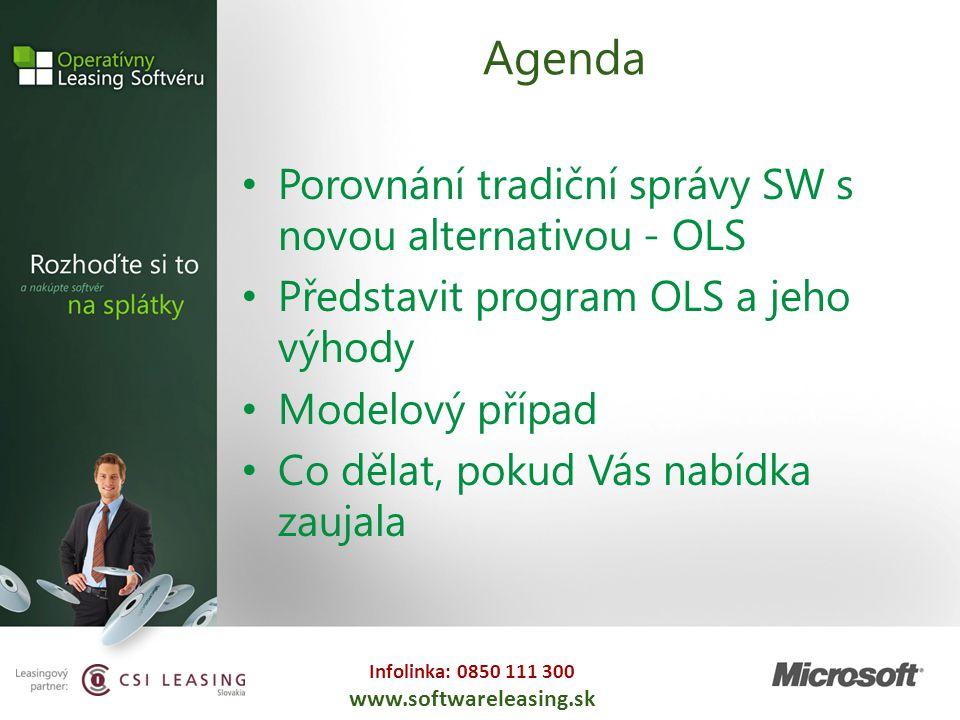 Infolinka: 0850 111 300 www.softwareleasing.sk Agenda Porovnání tradiční správy SW s novou alternativou - OLS Představit program OLS a jeho výhody Mod