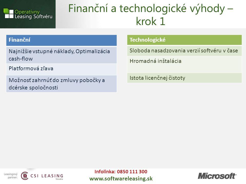 Infolinka: 0850 111 300 www.softwareleasing.sk Technologické Sloboda nasadzovania verzií softvéru v čase Hromadná inštalácia Istota licenčnej čistoty