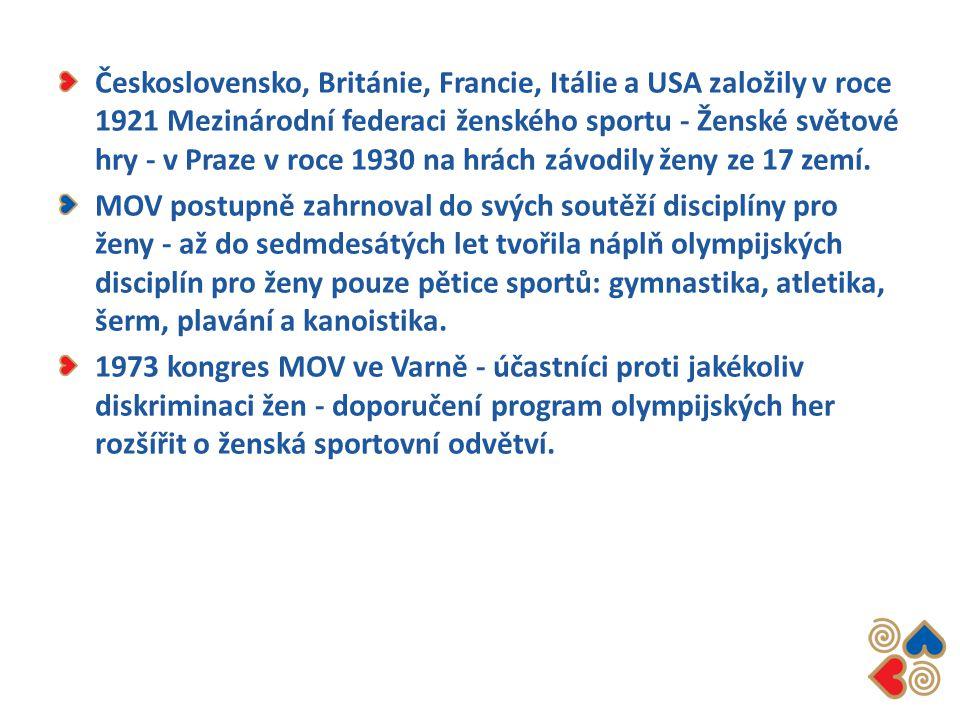Československo, Británie, Francie, Itálie a USA založily v roce 1921 Mezinárodní federaci ženského sportu - Ženské světové hry - v Praze v roce 1930 n