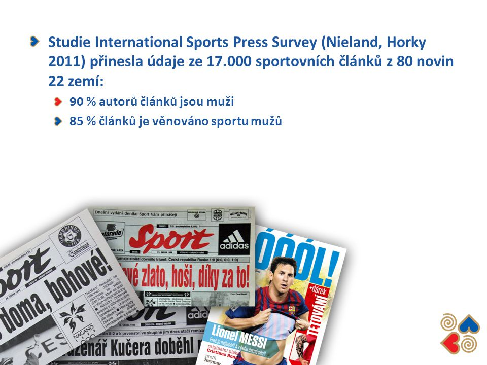 Studie International Sports Press Survey (Nieland, Horky 2011) přinesla údaje ze 17.000 sportovních článků z 80 novin 22 zemí: 90 % autorů článků jsou