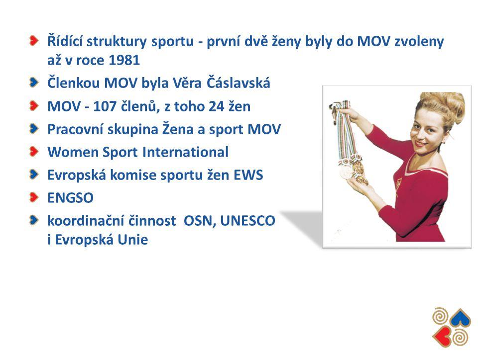Řídící struktury sportu - první dvě ženy byly do MOV zvoleny až v roce 1981 Členkou MOV byla Věra Čáslavská MOV - 107 členů, z toho 24 žen Pracovní sk