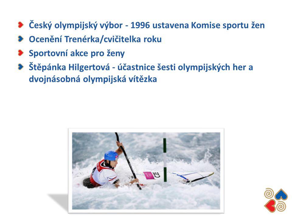 Český olympijský výbor - 1996 ustavena Komise sportu žen Ocenění Trenérka/cvičitelka roku Sportovní akce pro ženy Štěpánka Hilgertová - účastnice šest