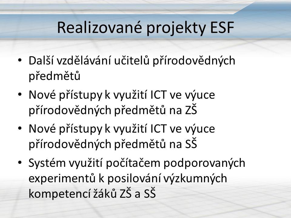 Realizované projekty ESF Další vzdělávání učitelů přírodovědných předmětů Nové přístupy k využití ICT ve výuce přírodovědných předmětů na ZŠ Nové přís
