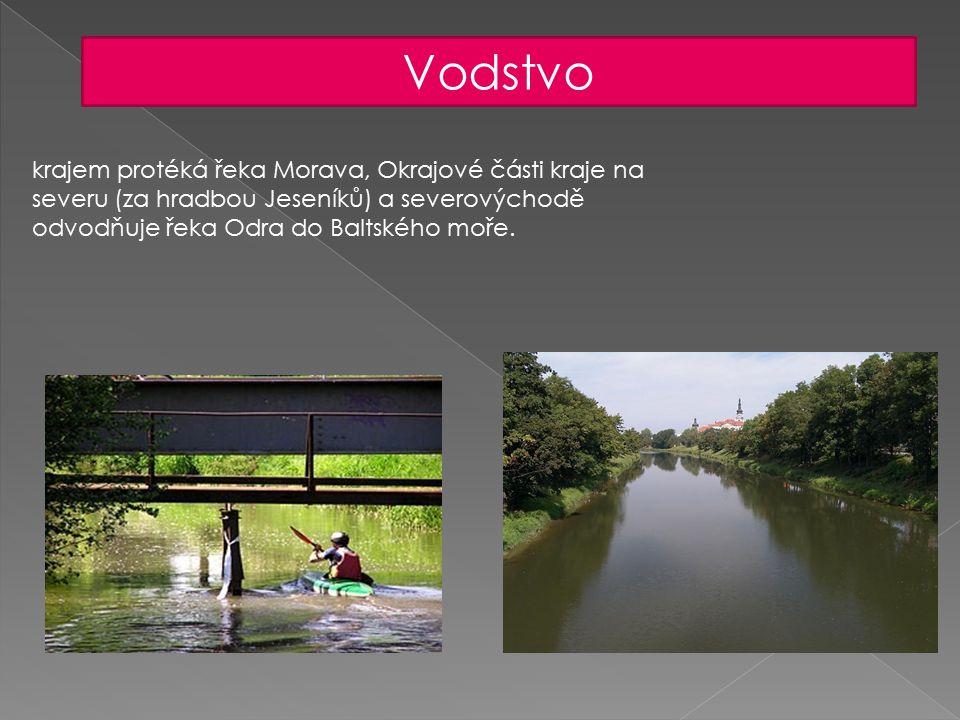 Vodstvo krajem protéká řeka Morava, Okrajové části kraje na severu (za hradbou Jeseníků) a severovýchodě odvodňuje řeka Odra do Baltského moře.