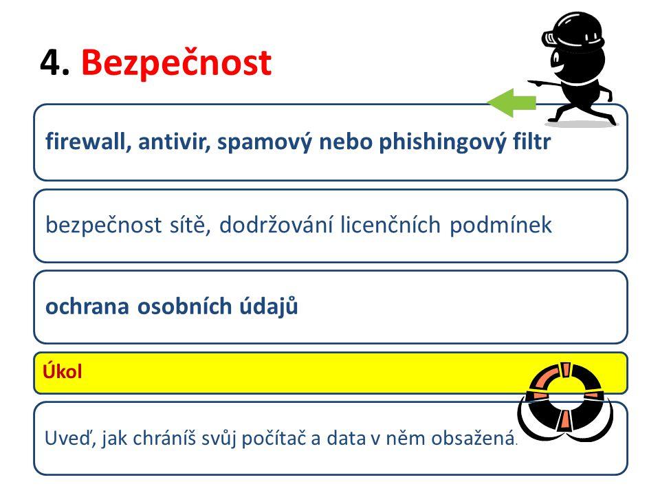 4. Bezpečnost firewall, antivir, spamový nebo phishingový filtr bezpečnost sítě, dodržování licenčních podmínekochrana osobních údajů Úkol Uveď, jak c