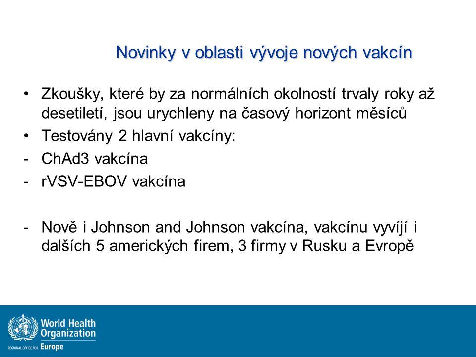 Novinky v oblasti vývoje nových vakcín Zkoušky, které by za normálních okolností trvaly roky až desetiletí, jsou urychleny na časový horizont měsíců Testovány 2 hlavní vakcíny: -ChAd3 vakcína -rVSV-EBOV vakcína -Nově i Johnson and Johnson vakcína, vakcínu vyvíjí i dalších 5 amerických firem, 3 firmy v Rusku a Evropě