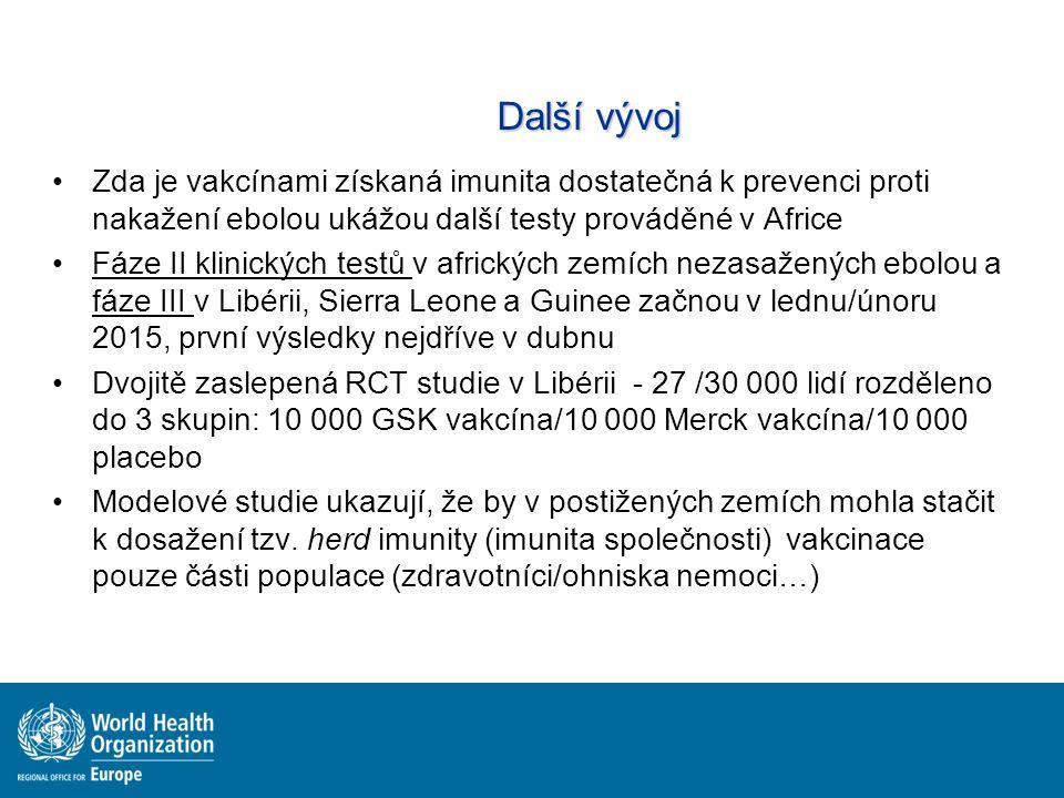 Další vývoj Zda je vakcínami získaná imunita dostatečná k prevenci proti nakažení ebolou ukážou další testy prováděné v Africe Fáze II klinických testů v afrických zemích nezasažených ebolou a fáze III v Libérii, Sierra Leone a Guinee začnou v lednu/únoru 2015, první výsledky nejdříve v dubnu Dvojitě zaslepená RCT studie v Libérii - 27 /30 000 lidí rozděleno do 3 skupin: 10 000 GSK vakcína/10 000 Merck vakcína/10 000 placebo Modelové studie ukazují, že by v postižených zemích mohla stačit k dosažení tzv.