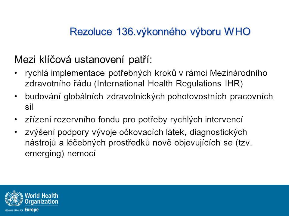 Rezoluce 136.výkonného výboru WHO Mezi klíčová ustanovení patří: rychlá implementace potřebných kroků v rámci Mezinárodního zdravotního řádu (Internat