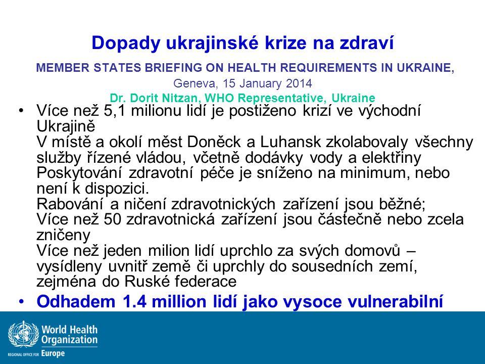 Dopady ukrajinské krize na zdraví MEMBER STATES BRIEFING ON HEALTH REQUIREMENTS IN UKRAINE, Geneva, 15 January 2014 Dr. Dorit Nitzan, WHO Representati