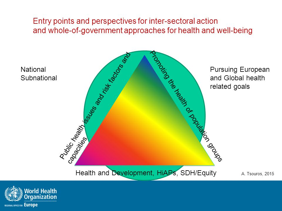 Public health issues and risk factors and capacities Health and Development, HiAPs, SDH/Equity Promoting the health of population groups A. Tsouros, 2