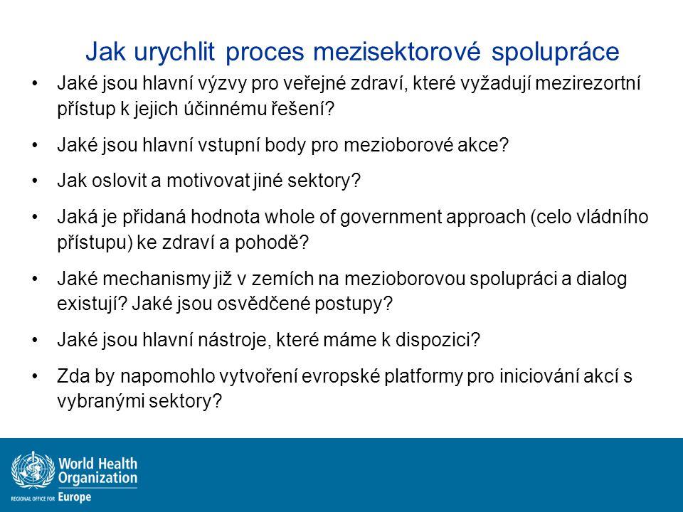 Jak urychlit proces mezisektorové spolupráce Jaké jsou hlavní výzvy pro veřejné zdraví, které vyžadují mezirezortní přístup k jejich účinnému řešení.