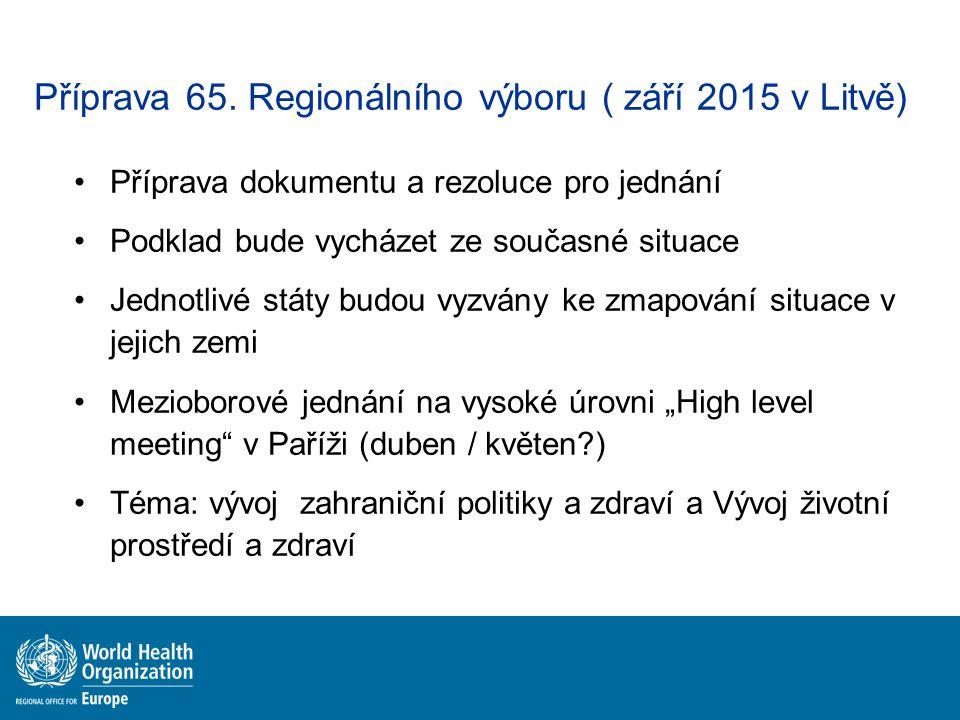 Příprava 65. Regionálního výboru ( září 2015 v Litvě) Příprava dokumentu a rezoluce pro jednání Podklad bude vycházet ze současné situace Jednotlivé s
