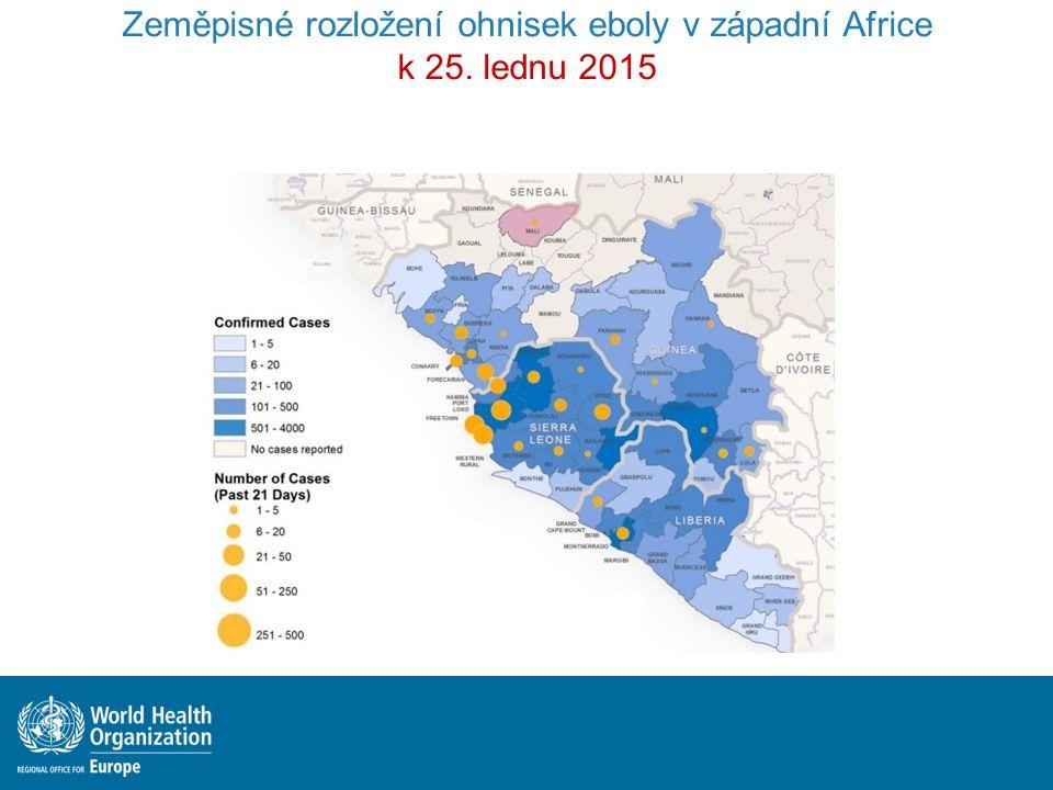 Incidence nových případů klesá Zpomalení přenosu infekce ukončení epidemie Výstavba potřebné infrastruktury, zajištění kvalitní podpůrné léčby, bezpečné pohřby, zapojení místních komunit Ebola - Aktuální situace k 25.1.2015