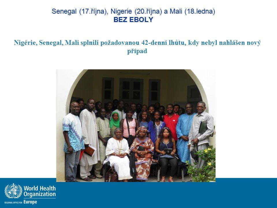 Senegal (17.října), Nigerie (20.října) a Mali (18.ledna) BEZ EBOLY Nigérie, Senegal, Mali splnili požadovanou 42-denní lhůtu, kdy nebyl nahlášen nový případ