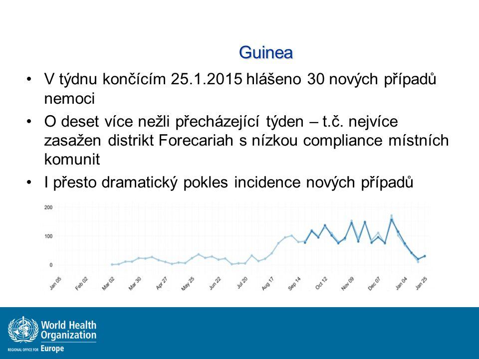 Guinea V týdnu končícím 25.1.2015 hlášeno 30 nových případů nemoci O deset více nežli přecházející týden – t.č. nejvíce zasažen distrikt Forecariah s