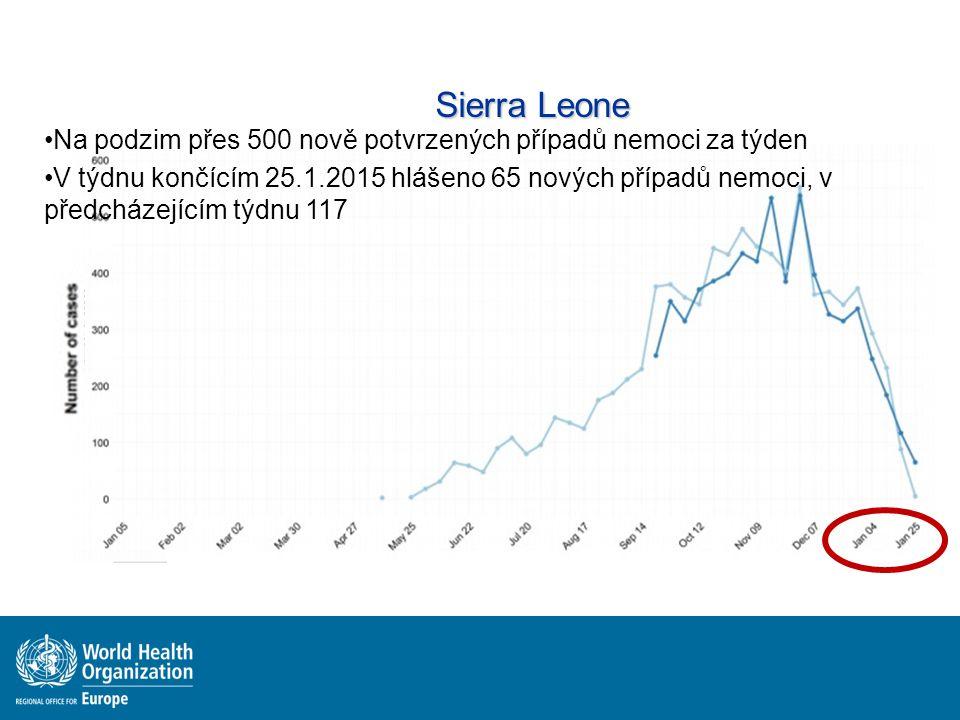 Sierra Leone Na podzim přes 500 nově potvrzených případů nemoci za týden V týdnu končícím 25.1.2015 hlášeno 65 nových případů nemoci, v předcházejícím týdnu 117