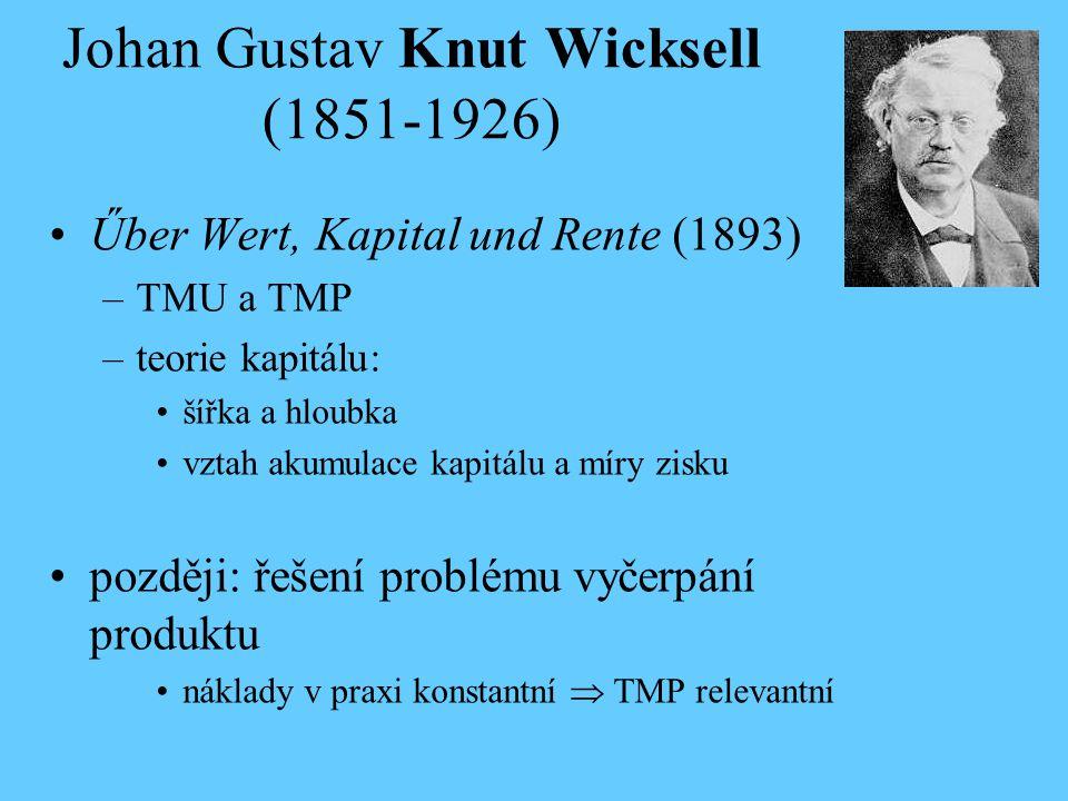 Johan Gustav Knut Wicksell (1851-1926) Űber Wert, Kapital und Rente (1893) –TMU a TMP –teorie kapitálu: šířka a hloubka vztah akumulace kapitálu a mír