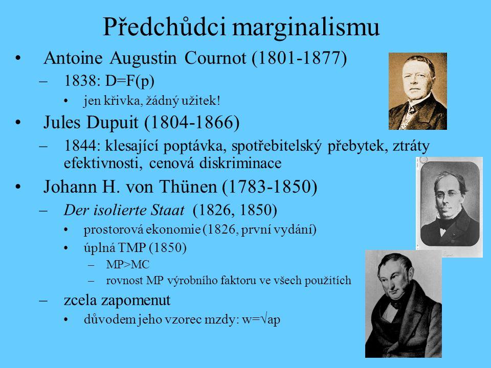 Předchůdci marginalismu Antoine Augustin Cournot (1801-1877) –1838: D=F(p) jen křivka, žádný užitek! Jules Dupuit (1804-1866) –1844: klesající poptávk