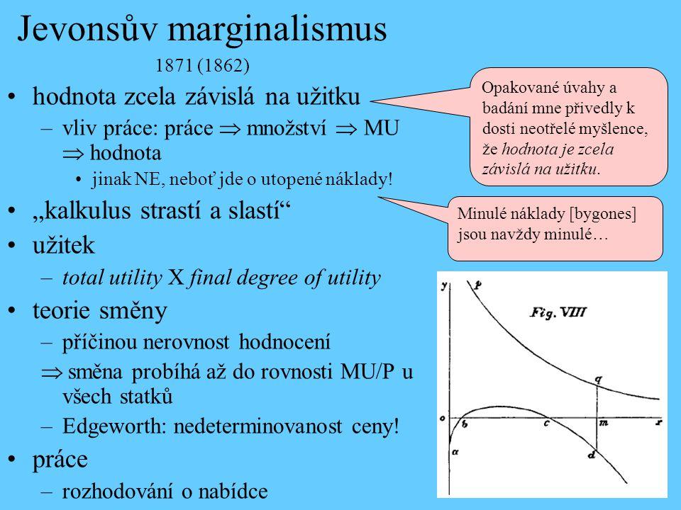 Jevonsův marginalismus 1871 (1862) hodnota zcela závislá na užitku –vliv práce: práce  množství  MU  hodnota jinak NE, neboť jde o utopené náklady!