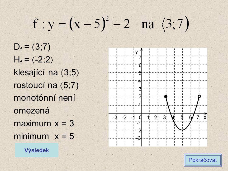 D f =  3;7) H f =  -2;2  klesající na  3;5  rostoucí na  5;7) monotónní není omezená maximum x = 3 minimum x = 5 Výsledek Pokračovat