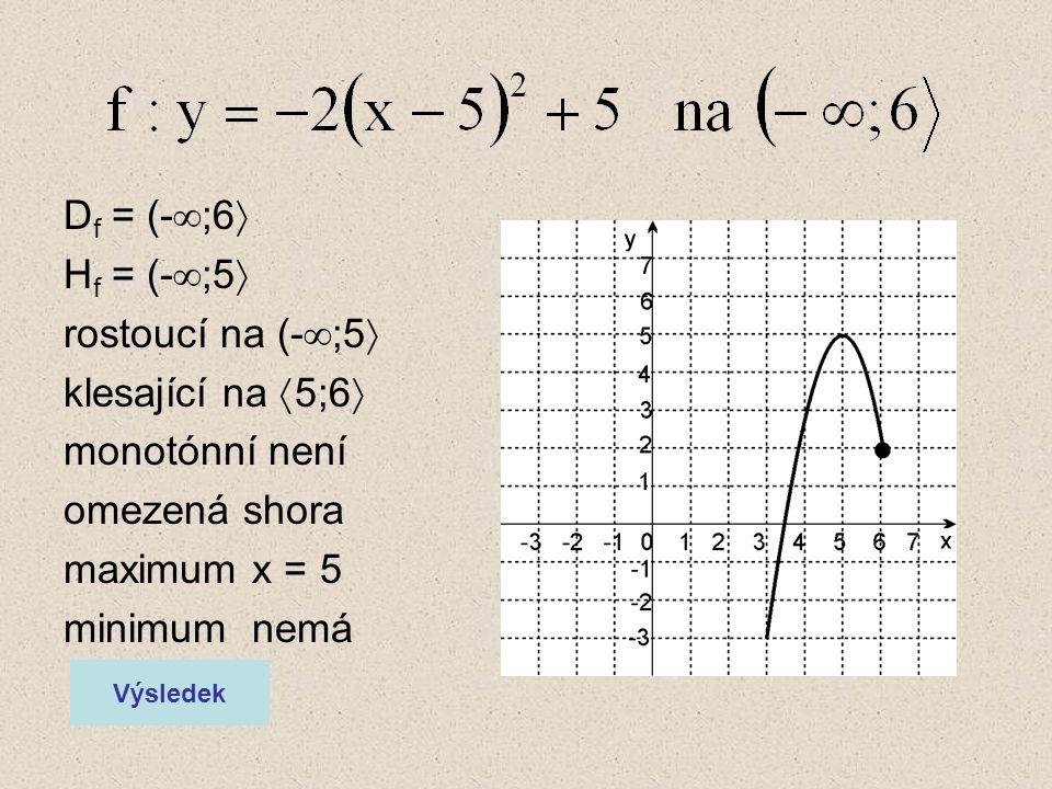 D f = (-  ;6  H f = (-  ;5  rostoucí na (-  ;5  klesající na  5;6  monotónní není omezená shora maximum x = 5 minimum nemá Výsledek