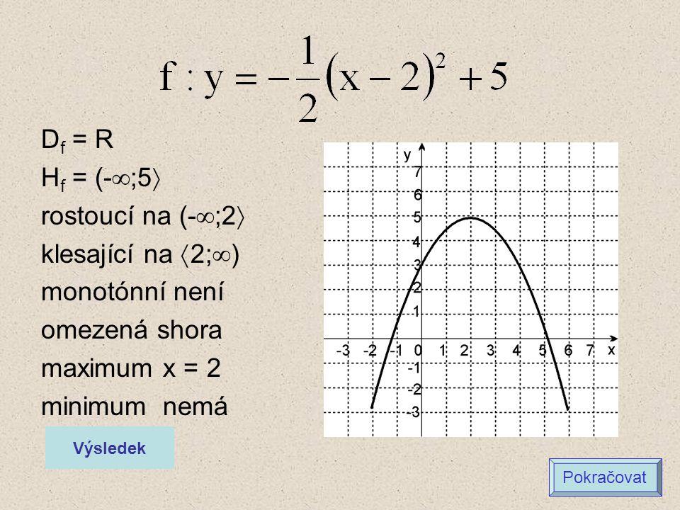 D f = R H f = (-  ;5  rostoucí na (-  ;2  klesající na  2;  ) monotónní není omezená shora maximum x = 2 minimum nemá Výsledek Pokračovat