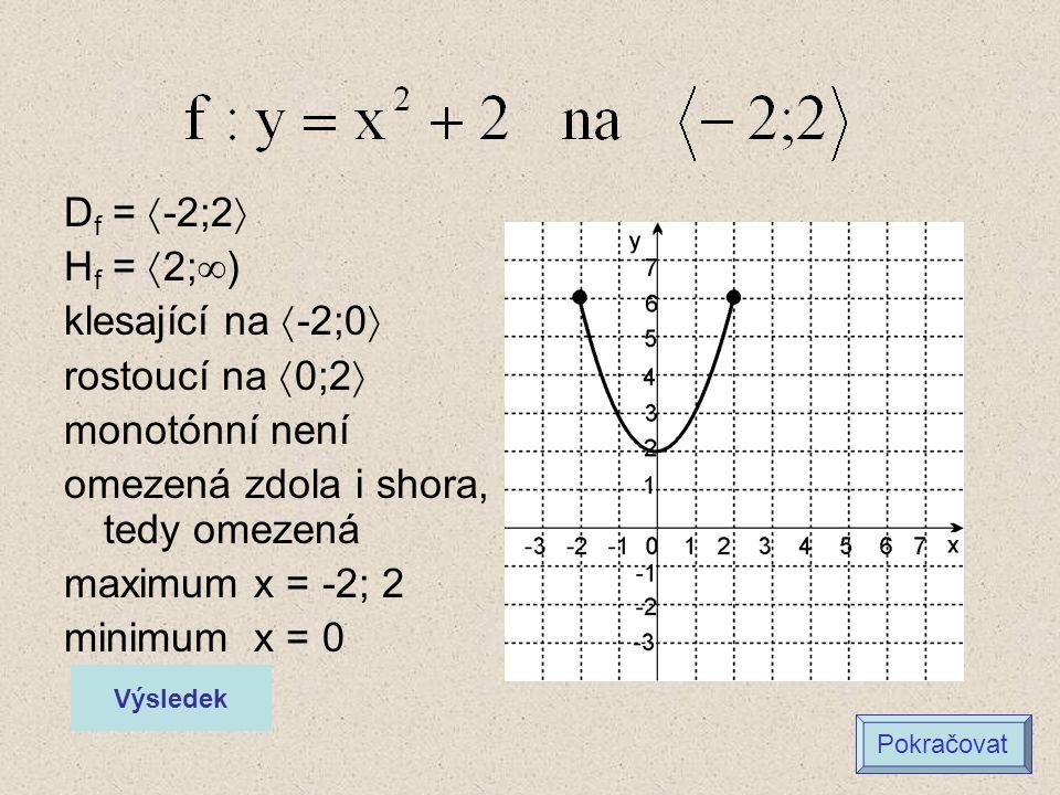 D f =  -2;2  H f =  2;  ) klesající na  -2;0  rostoucí na  0;2  monotónní není omezená zdola i shora, tedy omezená maximum x = -2; 2 minimum x