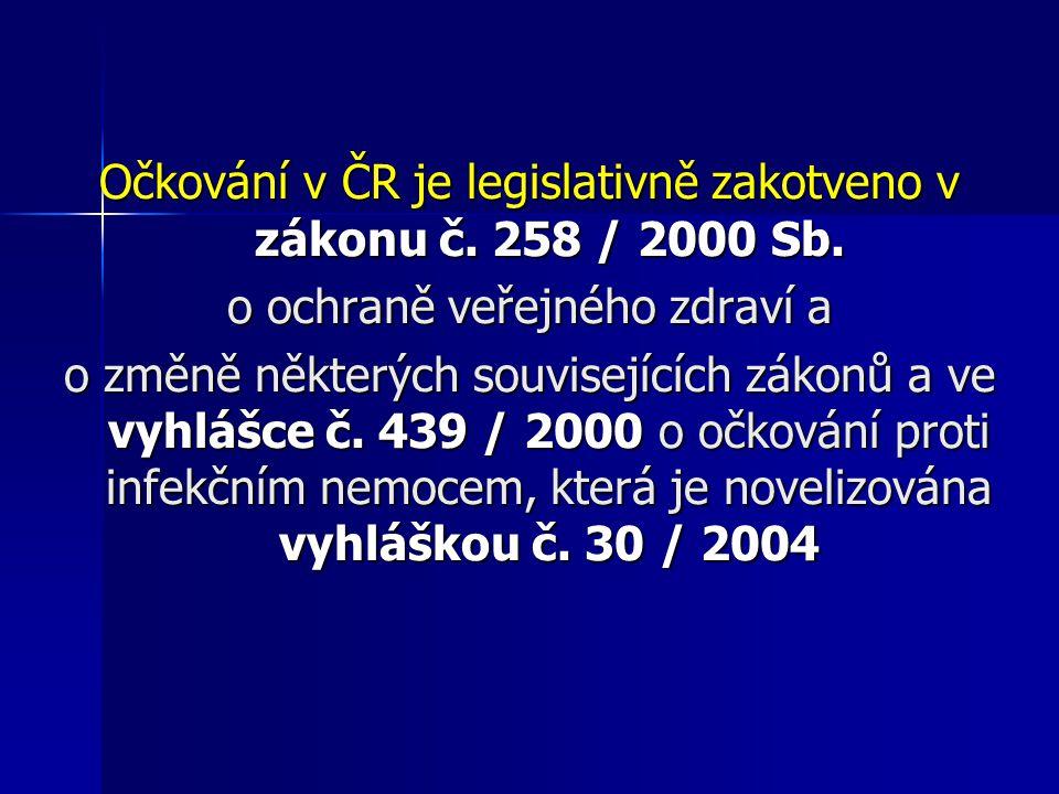 Očkování v ČR je legislativně zakotveno v zákonu č. 258 / 2000 Sb. o ochraně veřejného zdraví a o změně některých souvisejících zákonů a ve vyhlášce č