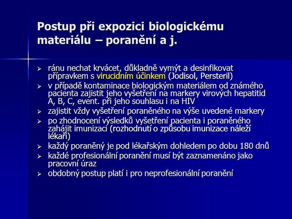 Postup při expozici biologickému materiálu – poranění a j.  ránu nechat krvácet, důkladně vymýt a desinfikovat přípravkem s virucidním účinkem (Jodis