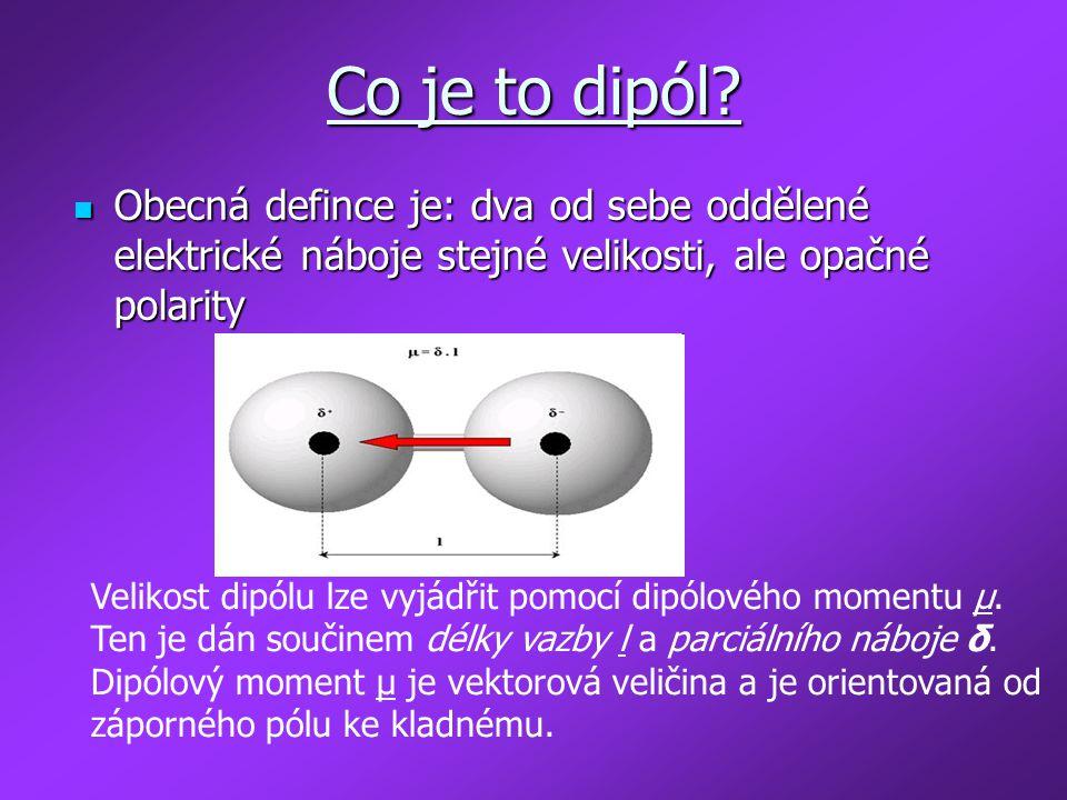 Co je to dipól? Obecná defince je: dva od sebe oddělené elektrické náboje stejné velikosti, ale opačné polarity Obecná defince je: dva od sebe oddělen