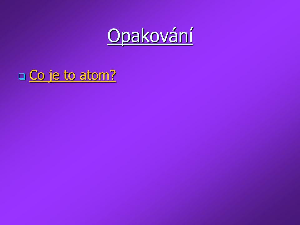 Opakování  Co je to atom?