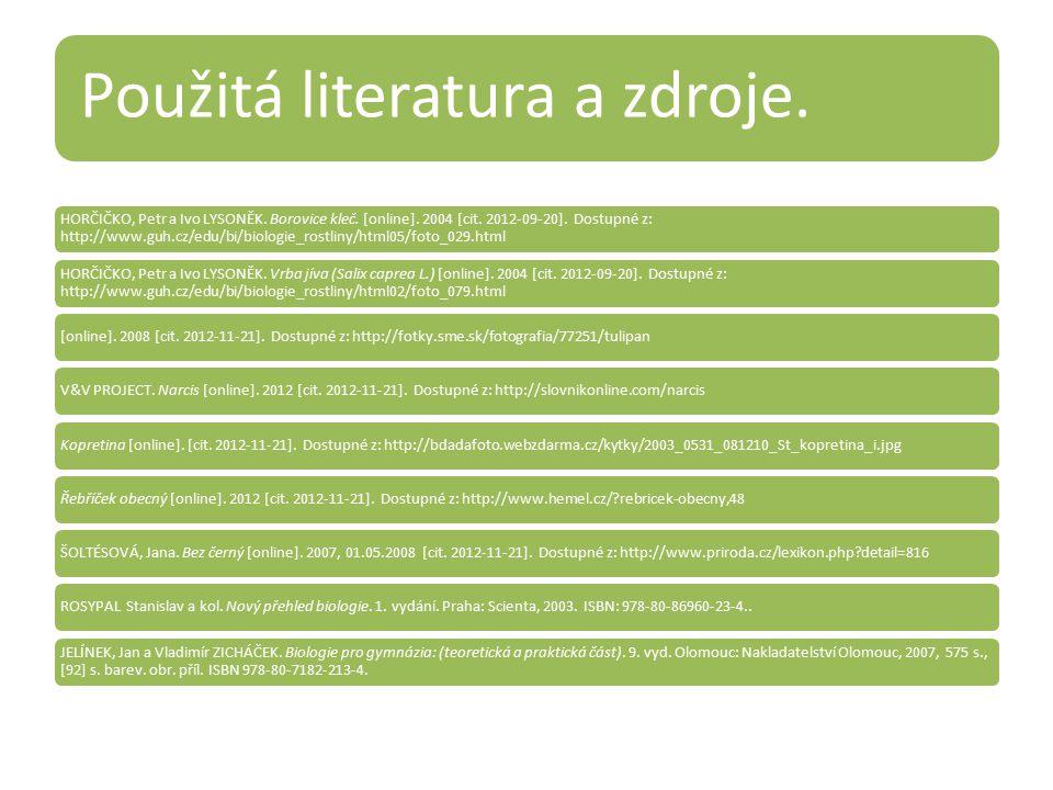 Použitá literatura a zdroje. HORČIČKO, Petr a Ivo LYSONĚK. Borovice kleč. [online]. 2004 [cit. 2012-09-20]. Dostupné z: http://www.guh.cz/edu/bi/biolo