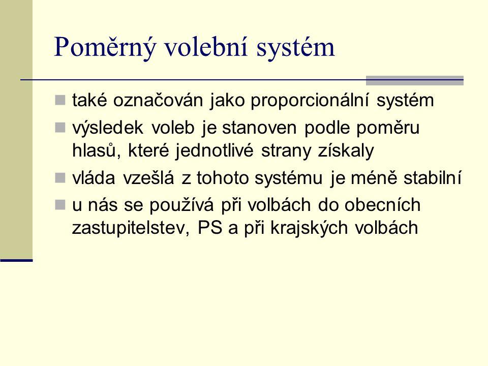 Poměrný volební systém také označován jako proporcionální systém výsledek voleb je stanoven podle poměru hlasů, které jednotlivé strany získaly vláda