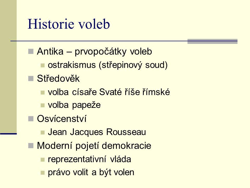 Historie voleb Antika – prvopočátky voleb ostrakismus (střepinový soud) Středověk volba císaře Svaté říše římské volba papeže Osvícenství Jean Jacques