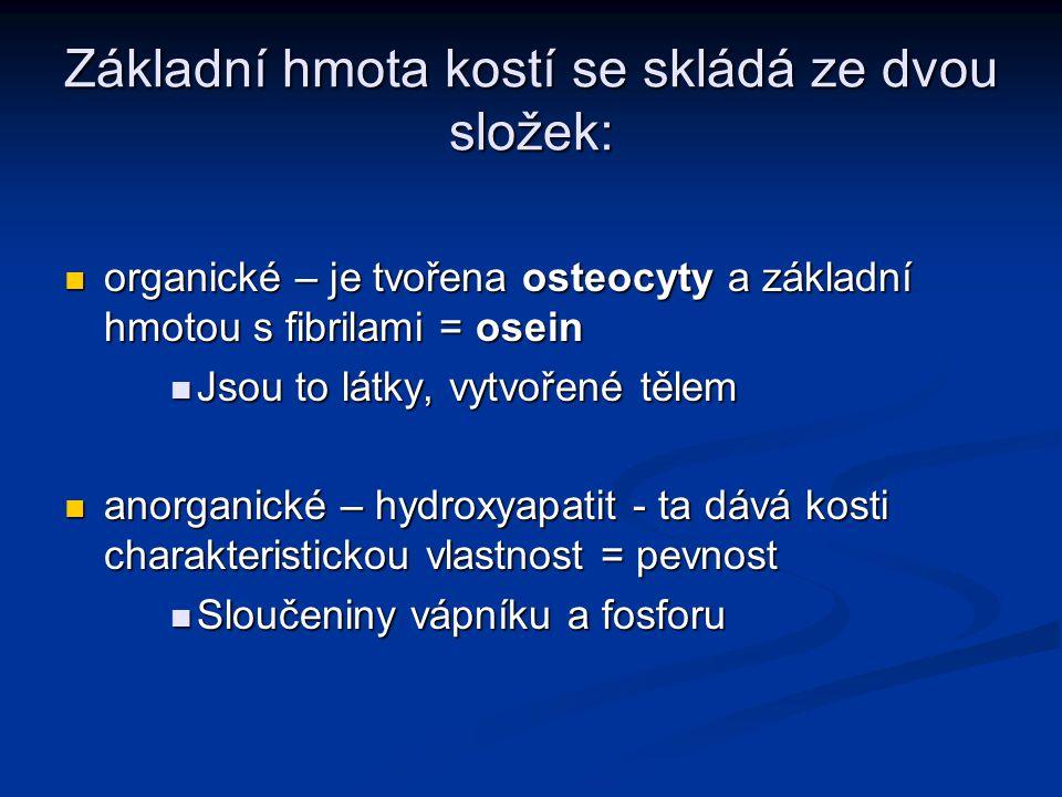 Základní hmota kostí se skládá ze dvou složek: organické – je tvořena osteocyty a základní hmotou s fibrilami = osein organické – je tvořena osteocyty a základní hmotou s fibrilami = osein Jsou to látky, vytvořené tělem Jsou to látky, vytvořené tělem anorganické – hydroxyapatit - ta dává kosti charakteristickou vlastnost = pevnost anorganické – hydroxyapatit - ta dává kosti charakteristickou vlastnost = pevnost Sloučeniny vápníku a fosforu Sloučeniny vápníku a fosforu