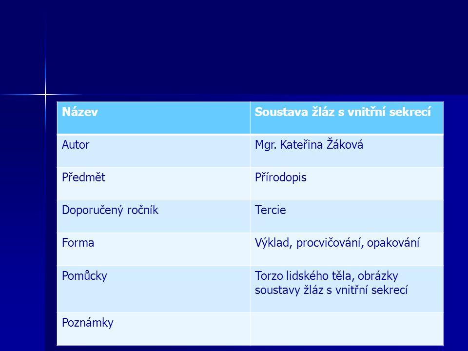 Soustava žláz s vnitřní sekrecí Uveď český výraz pro slovo sekrece.