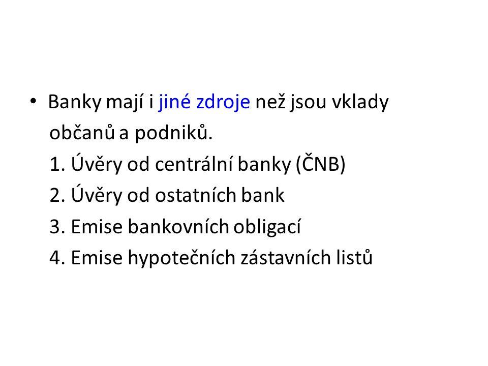Banky mají i jiné zdroje než jsou vklady občanů a podniků. 1. Úvěry od centrální banky (ČNB) 2. Úvěry od ostatních bank 3. Emise bankovních obligací 4