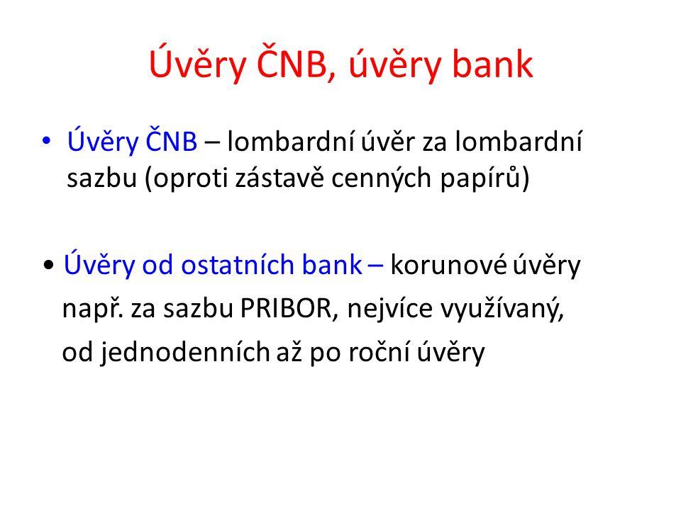 Úvěry ČNB, úvěry bank Úvěry ČNB – lombardní úvěr za lombardní sazbu (oproti zástavě cenných papírů) Úvěry od ostatních bank – korunové úvěry např. za