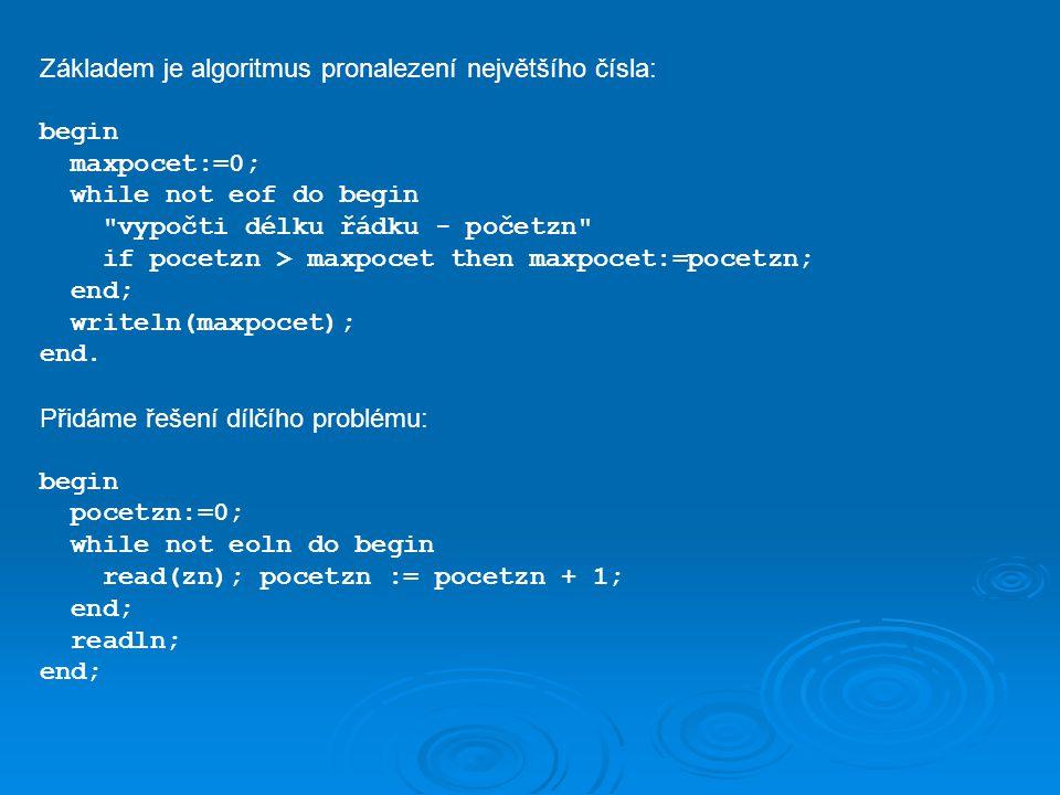 procedure tisk_mat(m : integer; a : pole); var i,j : integer; begin for i := 1 to m do begin for j := 1 to m do write(a[i,j]); writeln; end; end; {tisk_mat} procedure nas_mat(m:integer; a,b : matice; var c:matice); var i,j,k : integer; s : real; begin for i := 1 to m do for j := 1 to m do begin s := 0; for k := 1 to m do s := s + a[i,k] * b[k,j]; c[i,j] := s; end; end; {nas_mat}